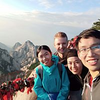 Huashan Mountain. I went with my friends Isaac, Kaijie, and Yinying. THis was the photo of the sunrise at the summit!